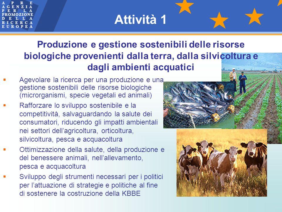 Attività 1 Produzione e gestione sostenibili delle risorse biologiche provenienti dalla terra, dalla silvicoltura e dagli ambienti acquatici.