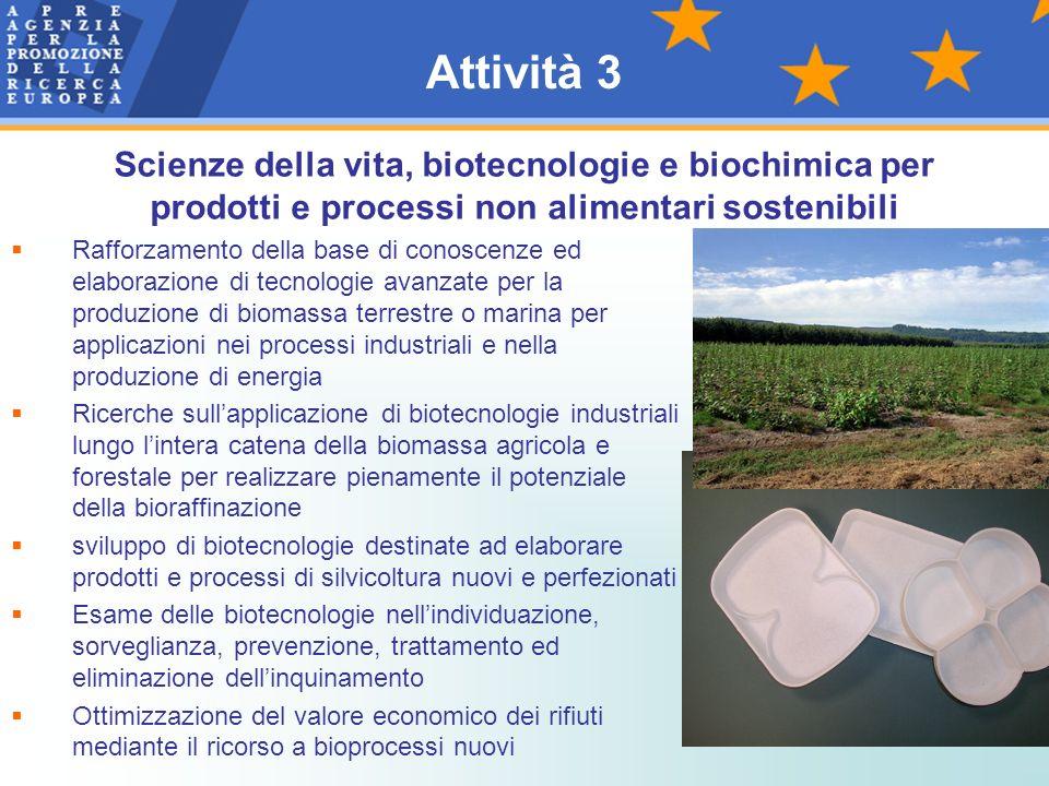 Attività 3 Scienze della vita, biotecnologie e biochimica per prodotti e processi non alimentari sostenibili.
