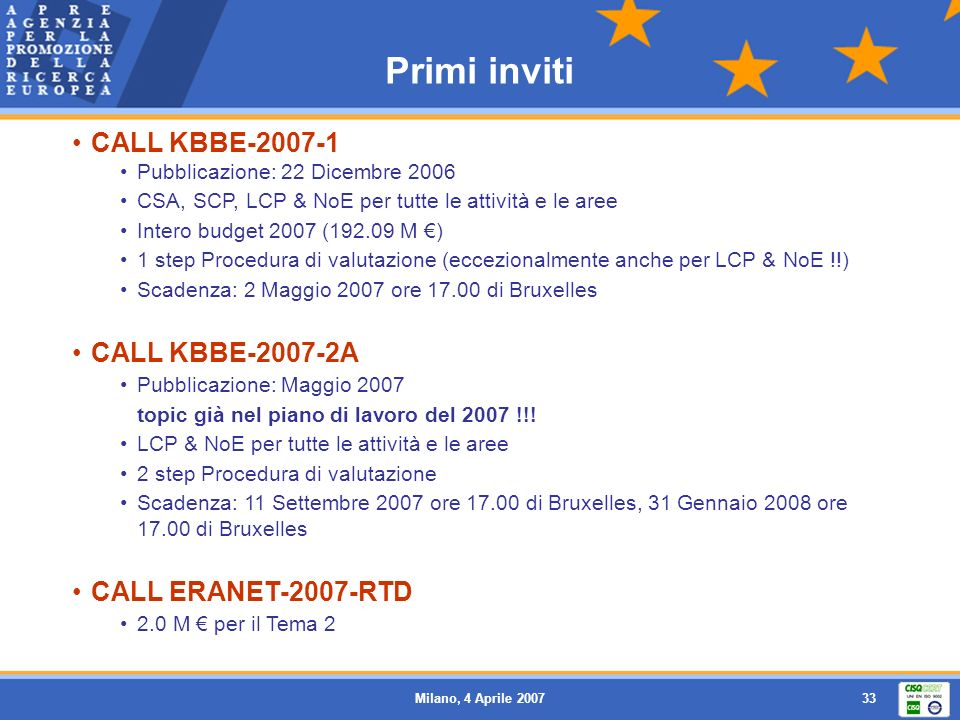Primi inviti CALL KBBE-2007-1 CALL KBBE-2007-2A CALL ERANET-2007-RTD