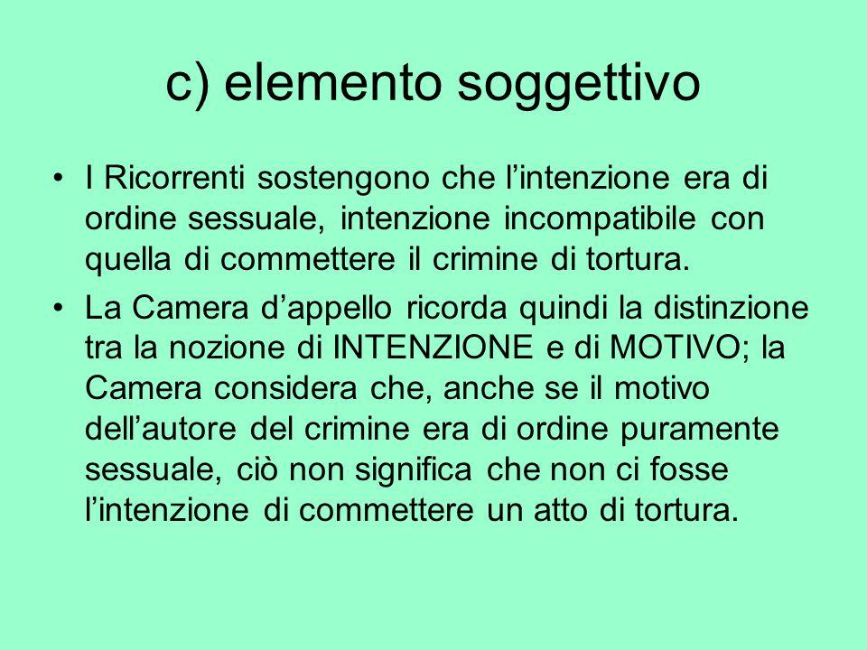 c) elemento soggettivo