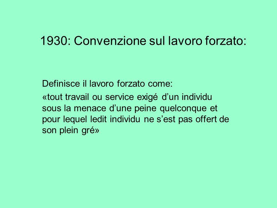 1930: Convenzione sul lavoro forzato: