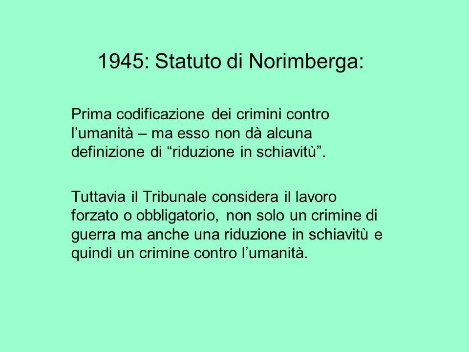 1945: Statuto di Norimberga: