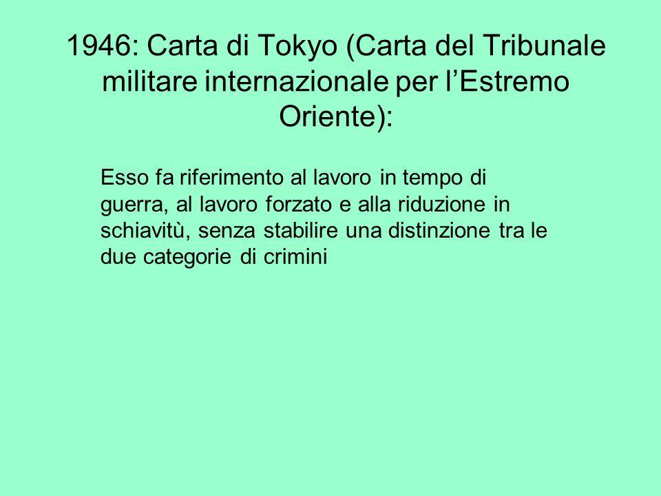 1946: Carta di Tokyo (Carta del Tribunale militare internazionale per l'Estremo Oriente):