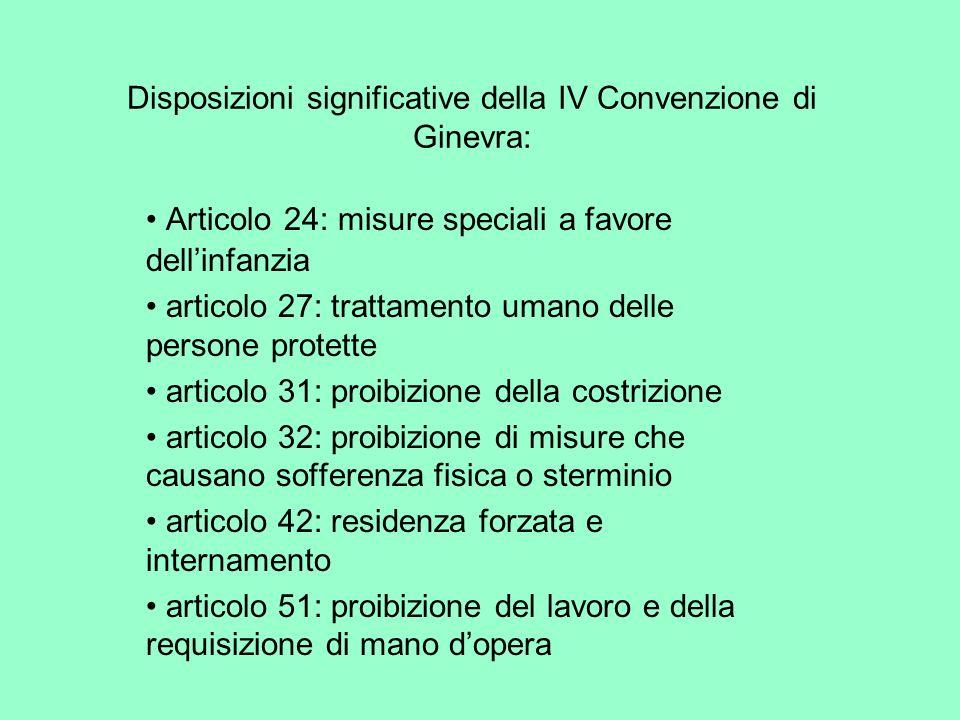 Disposizioni significative della IV Convenzione di Ginevra: