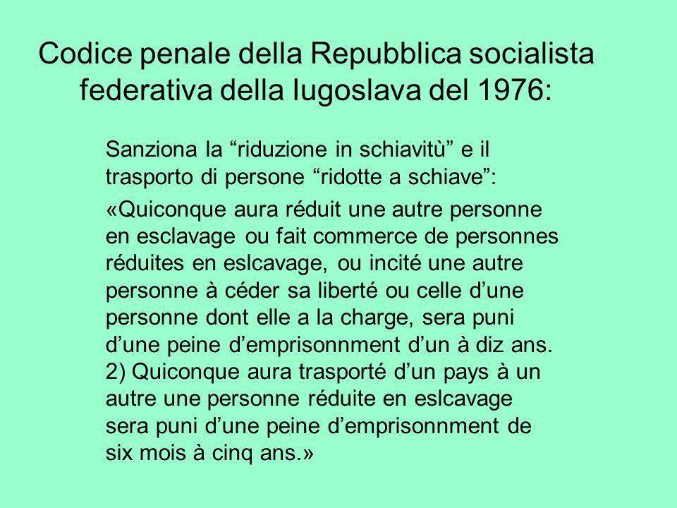 Codice penale della Repubblica socialista federativa della Iugoslava del 1976: