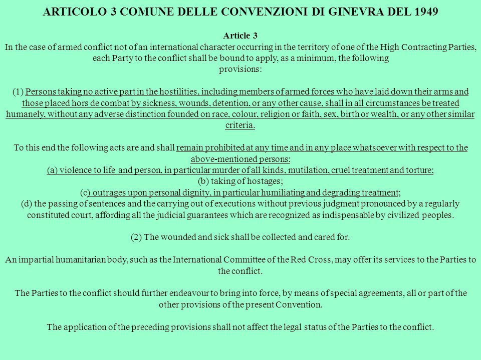 ARTICOLO 3 COMUNE DELLE CONVENZIONI DI GINEVRA DEL 1949