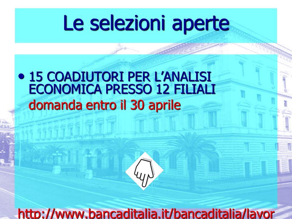 Le selezioni aperte 15 COADIUTORI PER L'ANALISI ECONOMICA PRESSO 12 FILIALI. domanda entro il 30 aprile.