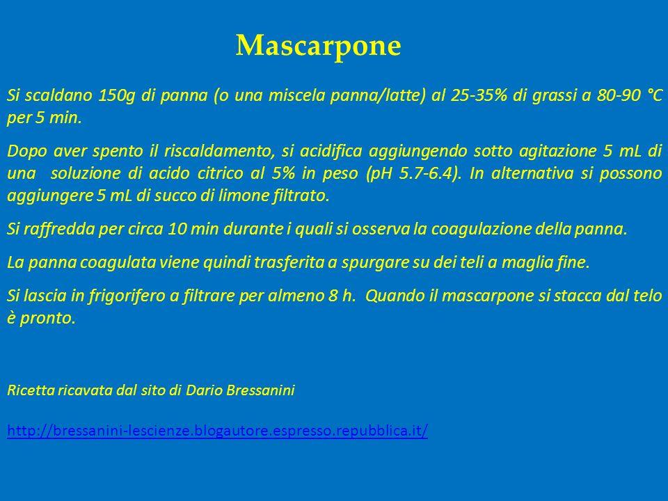 Mascarpone Si scaldano 150g di panna (o una miscela panna/latte) al 25-35% di grassi a 80-90 °C per 5 min.