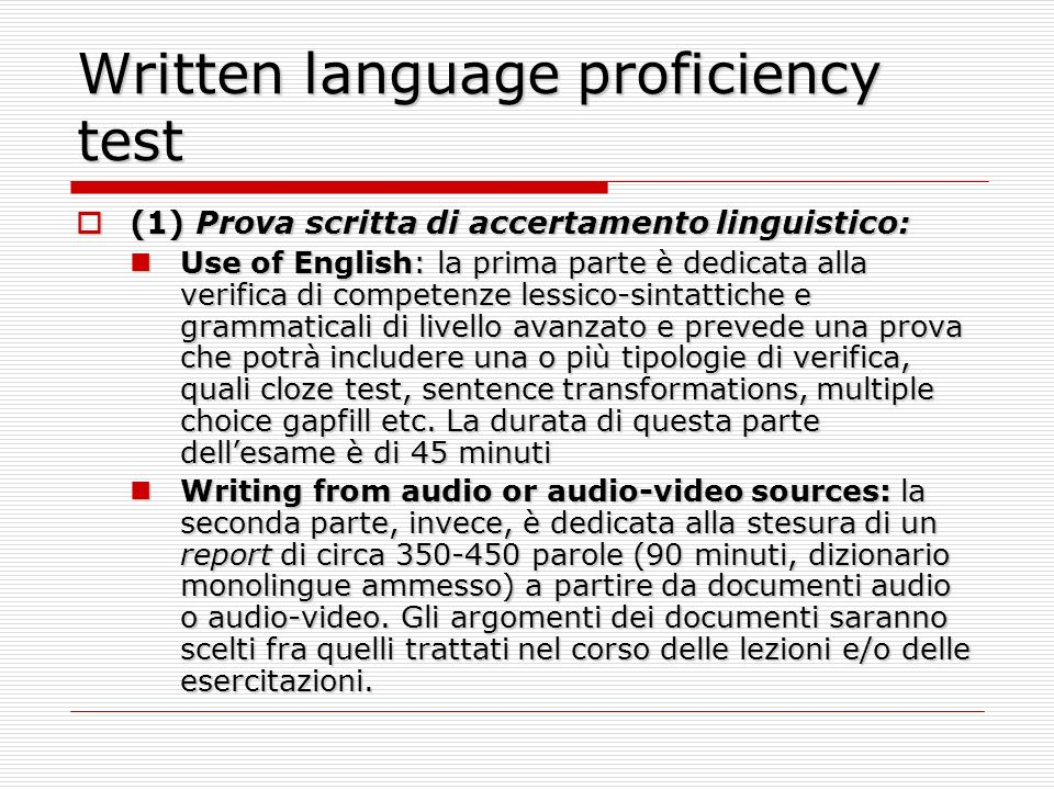 Written language proficiency test