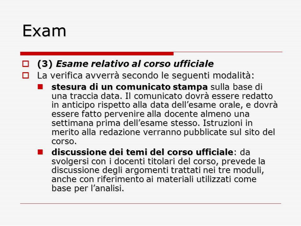 Exam (3) Esame relativo al corso ufficiale