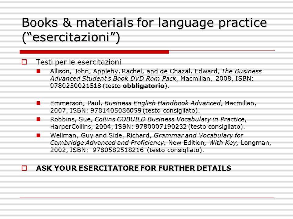 Books & materials for language practice ( esercitazioni )