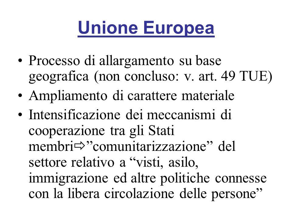 Unione Europea Processo di allargamento su base geografica (non concluso: v. art. 49 TUE) Ampliamento di carattere materiale.