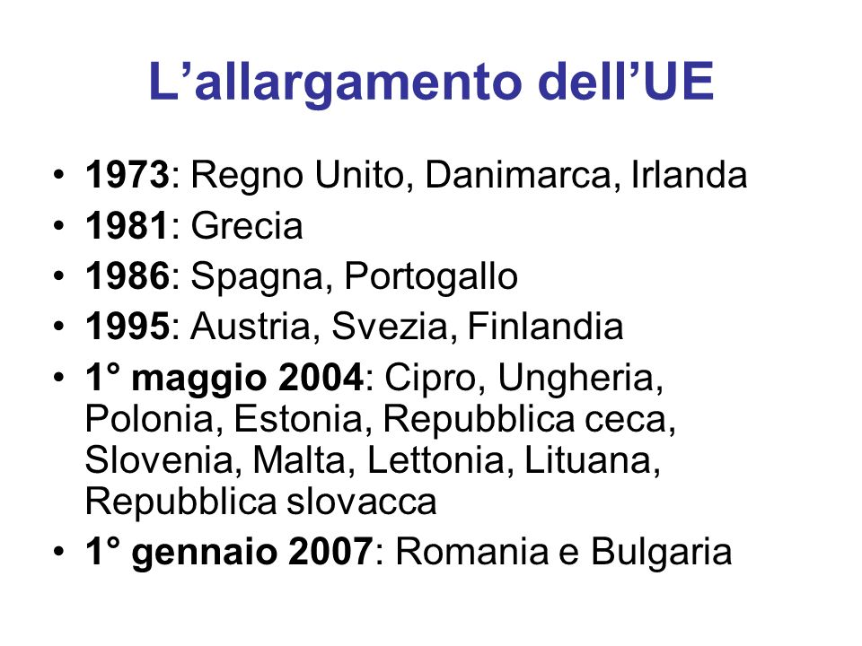 L'allargamento dell'UE