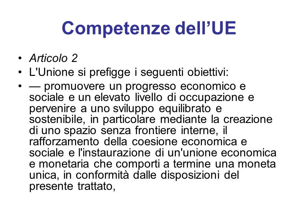 Competenze dell'UE Articolo 2