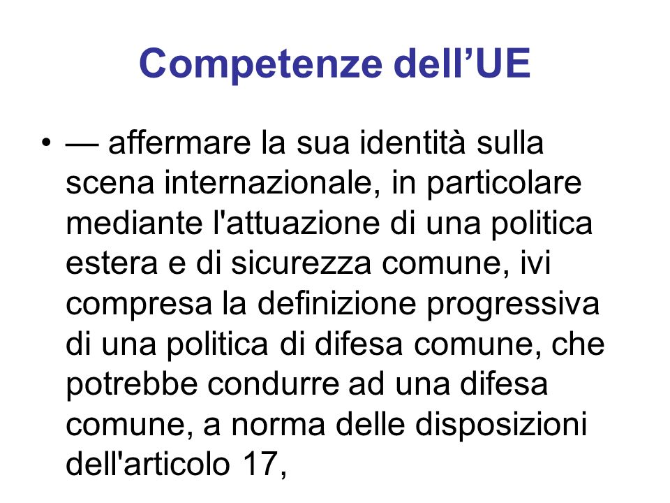 Competenze dell'UE