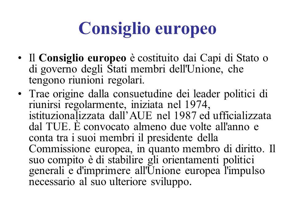 Consiglio europeo Il Consiglio europeo è costituito dai Capi di Stato o di governo degli Stati membri dell Unione, che tengono riunioni regolari.