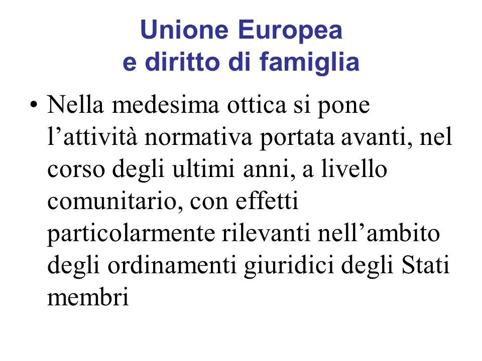 Unione Europea e diritto di famiglia