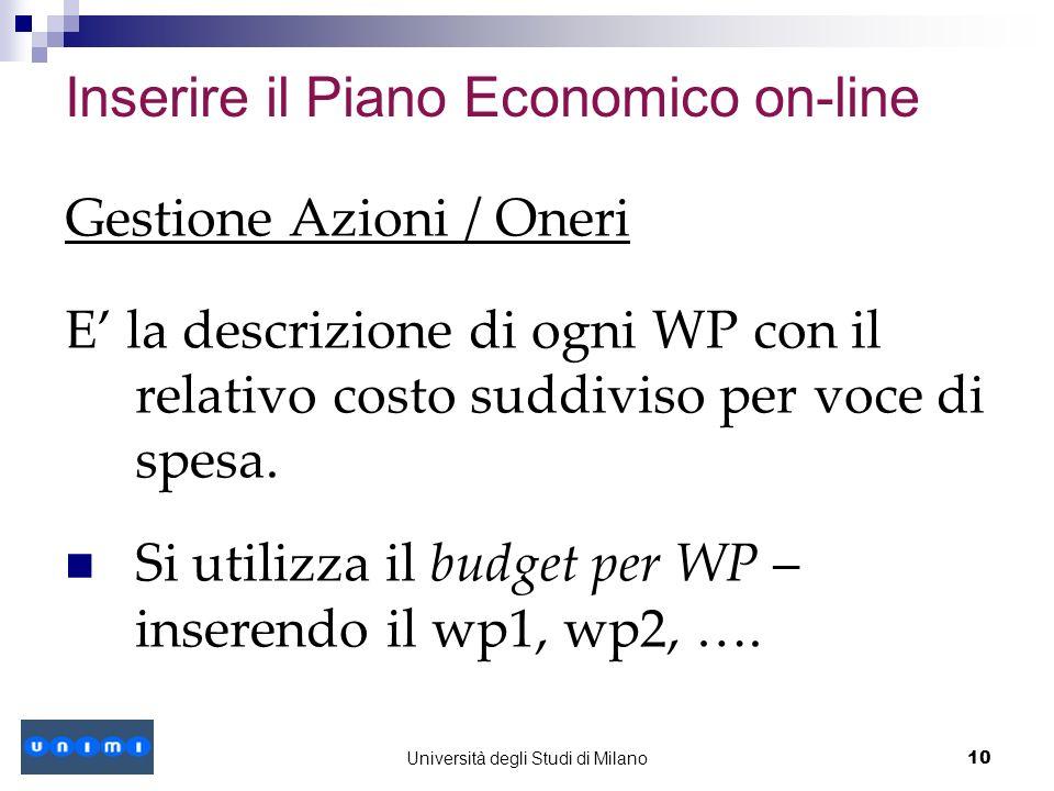 Inserire il Piano Economico on-line