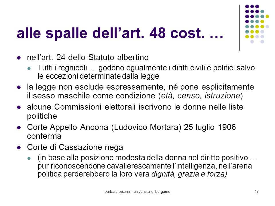 alle spalle dell'art. 48 cost. …