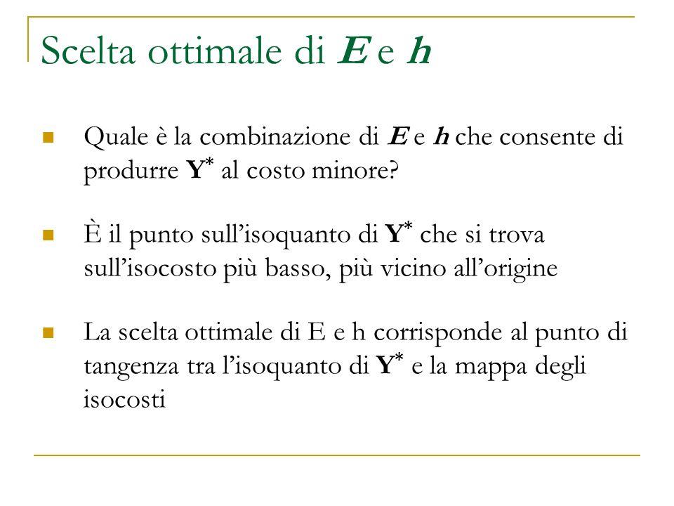 Scelta ottimale di E e h Quale è la combinazione di E e h che consente di produrre Y* al costo minore