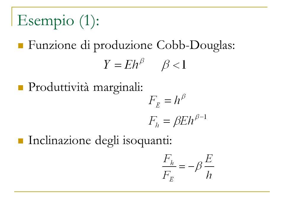 Esempio (1): Funzione di produzione Cobb-Douglas: