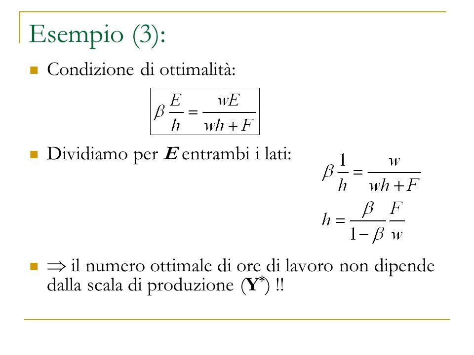 Esempio (3): Condizione di ottimalità: