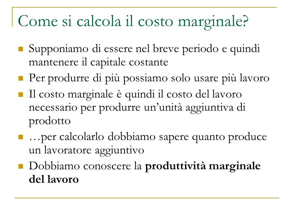 Come si calcola il costo marginale