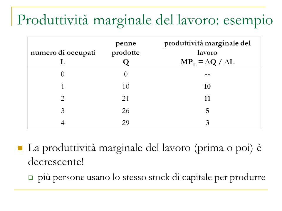 Produttività marginale del lavoro: esempio