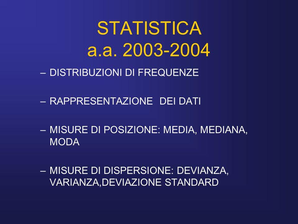 STATISTICA a.a. 2003-2004 DISTRIBUZIONI DI FREQUENZE