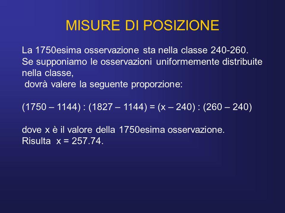 MISURE DI POSIZIONELa 1750esima osservazione sta nella classe 240-260. Se supponiamo le osservazioni uniformemente distribuite nella classe,