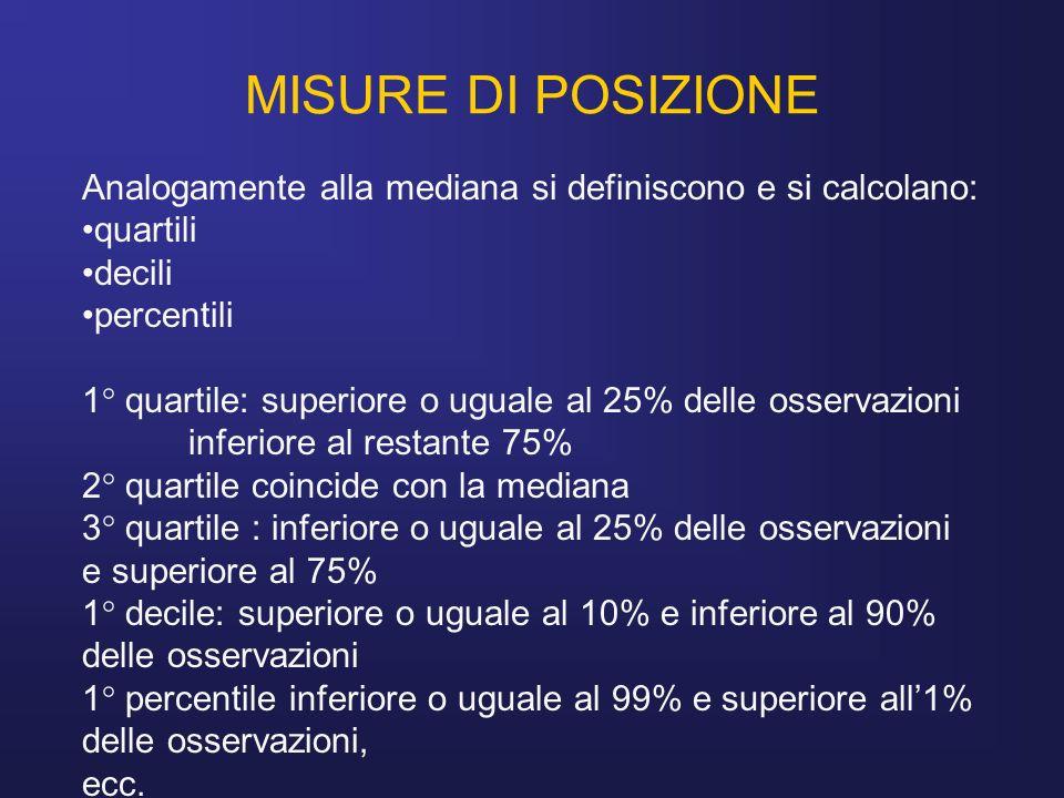 MISURE DI POSIZIONEAnalogamente alla mediana si definiscono e si calcolano: quartili. decili. percentili.