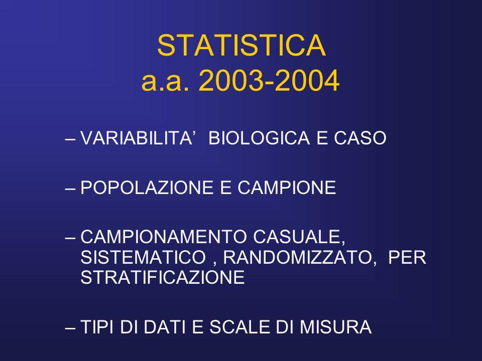 STATISTICA a.a. 2003-2004 VARIABILITA' BIOLOGICA E CASO