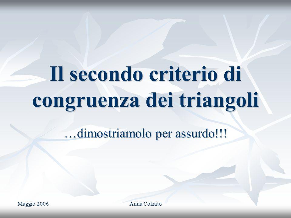 Il secondo criterio di congruenza dei triangoli
