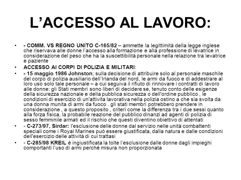L'ACCESSO AL LAVORO: