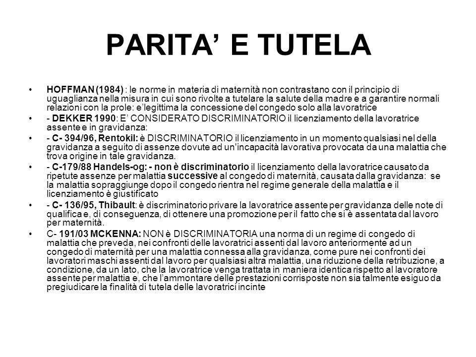 PARITA' E TUTELA