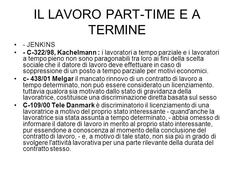 IL LAVORO PART-TIME E A TERMINE