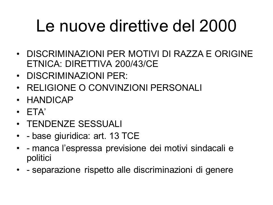 Le nuove direttive del 2000 DISCRIMINAZIONI PER MOTIVI DI RAZZA E ORIGINE ETNICA: DIRETTIVA 200/43/CE.