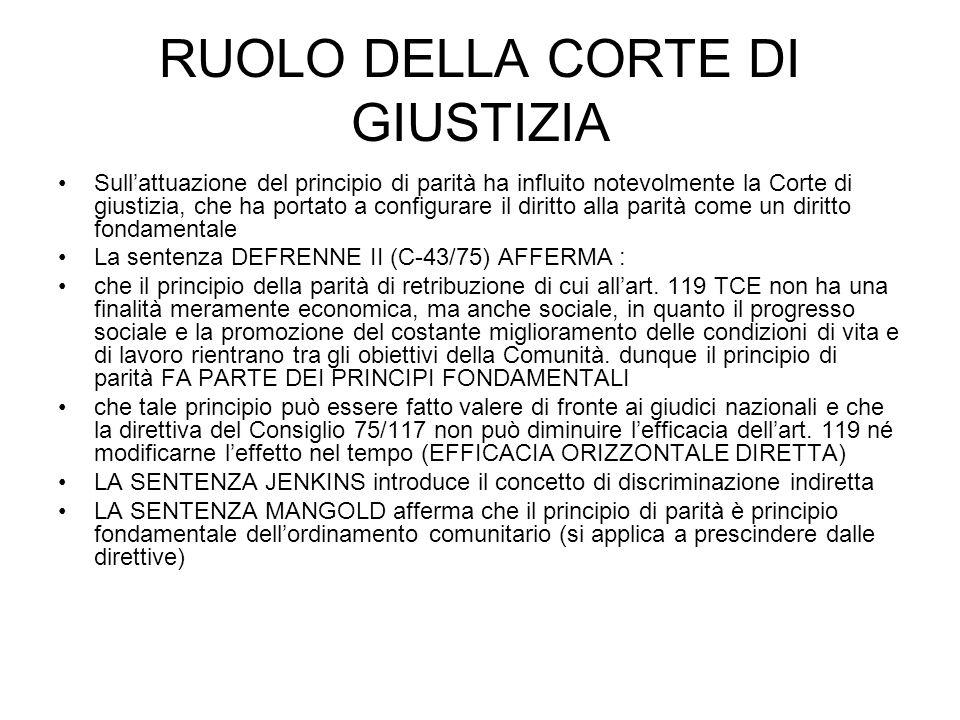 RUOLO DELLA CORTE DI GIUSTIZIA