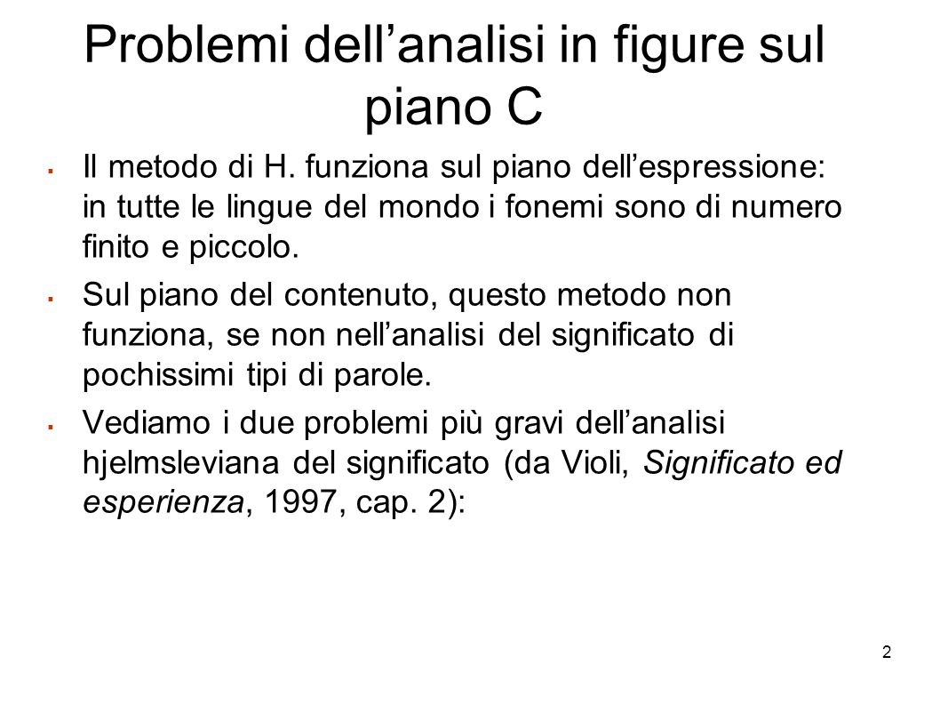 Problemi dell'analisi in figure sul piano C