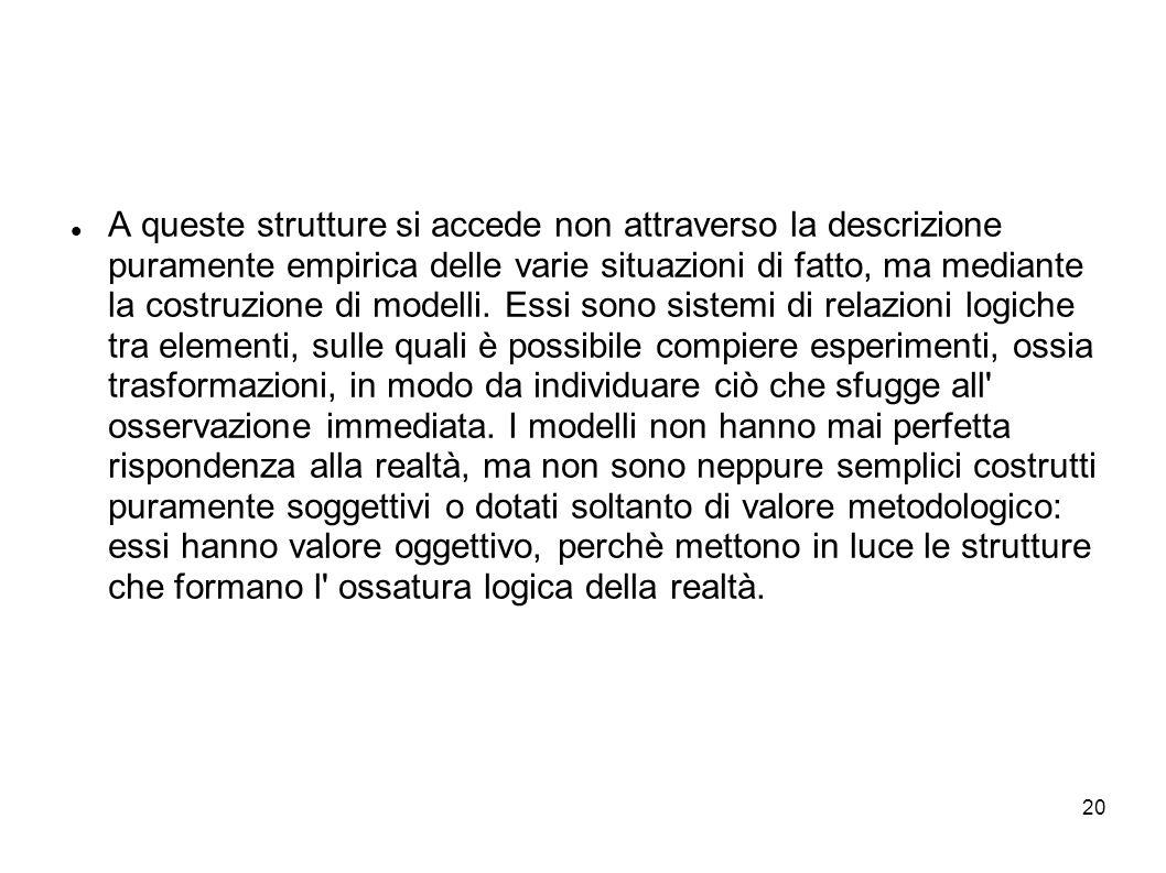 A queste strutture si accede non attraverso la descrizione puramente empirica delle varie situazioni di fatto, ma mediante la costruzione di modelli.