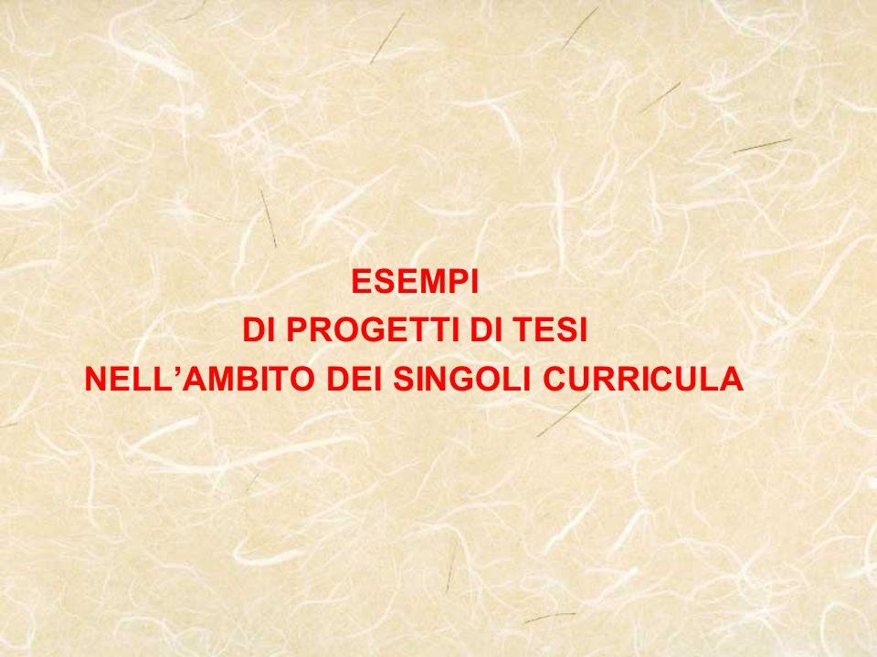 ESEMPI DI PROGETTI DI TESI NELL'AMBITO DEI SINGOLI CURRICULA