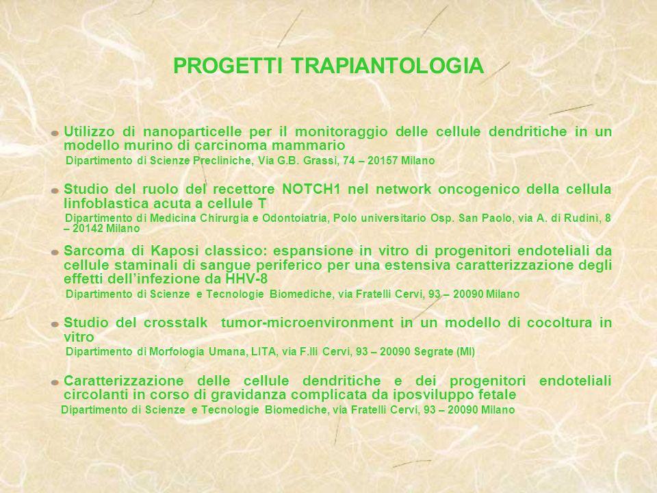 PROGETTI TRAPIANTOLOGIA
