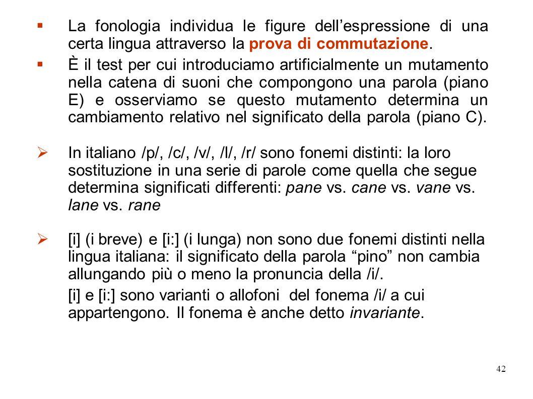 La fonologia individua le figure dell'espressione di una certa lingua attraverso la prova di commutazione.