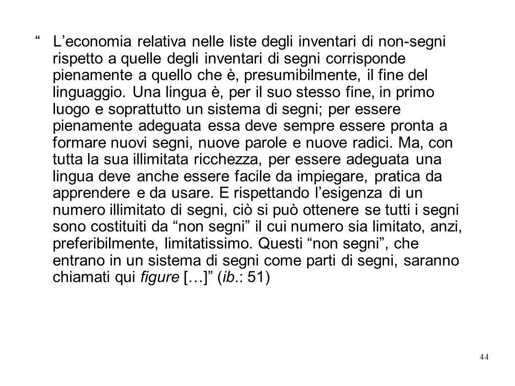 L'economia relativa nelle liste degli inventari di non-segni rispetto a quelle degli inventari di segni corrisponde pienamente a quello che è, presumibilmente, il fine del linguaggio.