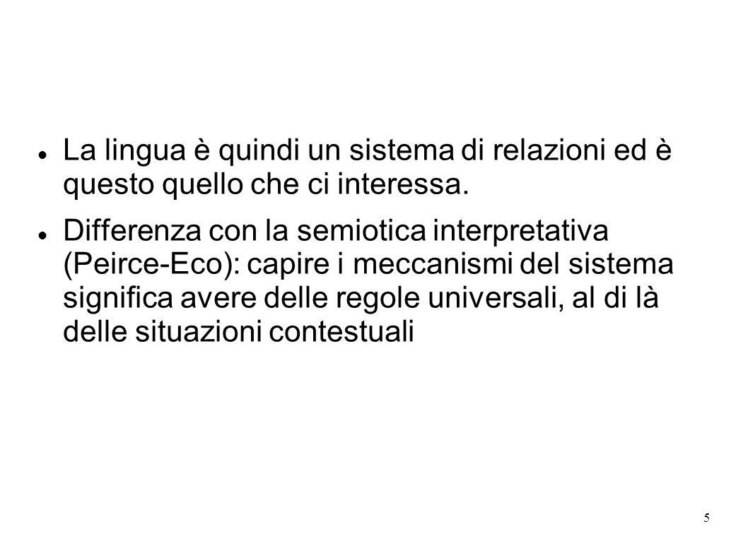 La lingua è quindi un sistema di relazioni ed è questo quello che ci interessa.