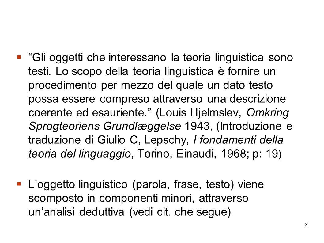 Gli oggetti che interessano la teoria linguistica sono testi