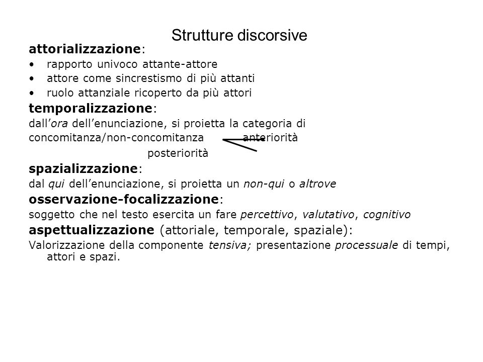 Strutture discorsive attorializzazione: temporalizzazione: