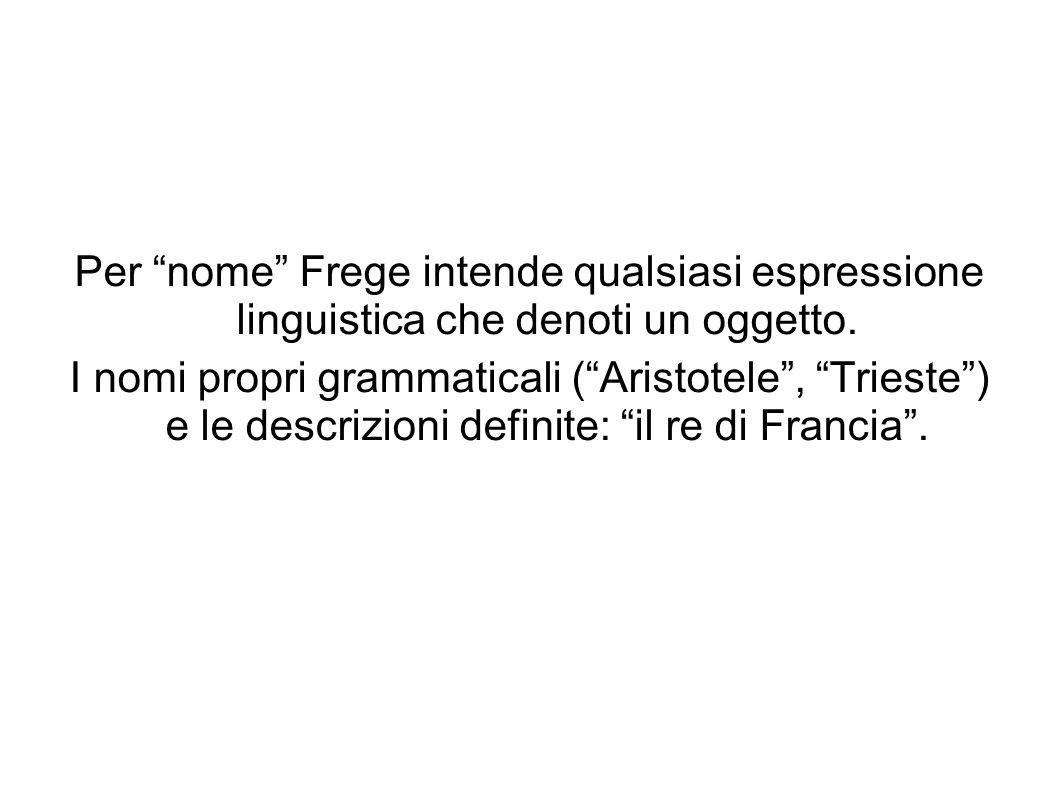 Per nome Frege intende qualsiasi espressione linguistica che denoti un oggetto.