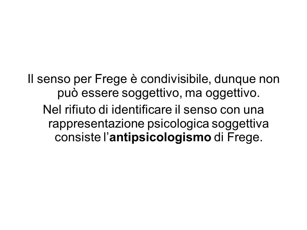 Il senso per Frege è condivisibile, dunque non può essere soggettivo, ma oggettivo.
