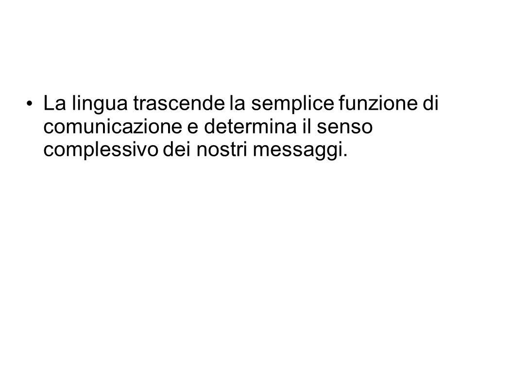 La lingua trascende la semplice funzione di comunicazione e determina il senso complessivo dei nostri messaggi.